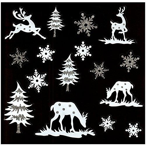 deko-punkt-roth. Fensterbild Set 16-tlg. Schneeflocken Eiskristalle REH Hirsch Tannenbaum Weiß/Silber Weihnachten Winter Fenstersticker Fensterdeko