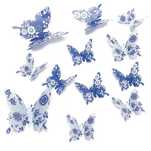 Calli 12st 4 Farben 3D Schmetterlings Kunst Aufkleber Girls Home Raum Wand Fenster Türaufkleber Dekorationen Dekors