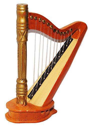 Miniatur Harfe - aus Holz / Maßstab 1:12 - Saiten Musikinstrument - Harfeninstrument - Diorama - Nostalgie Nostalgisch für Puppenstube / Puppenhaus - Schule / Musikschule Mittelalter - Notenlehre - Musik Instrument - Musiklehrer Saiteninstrument - Zupfinstrument - Klassik - Orchester