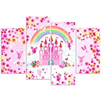 Rubybloom Designs Enchanted Princess Fairy Castle - Girls 4 Panel Canvas Art Print Picture