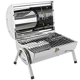 Arebos Outdoor Charcoal Barbecue / Stainless steel / Compact and handy