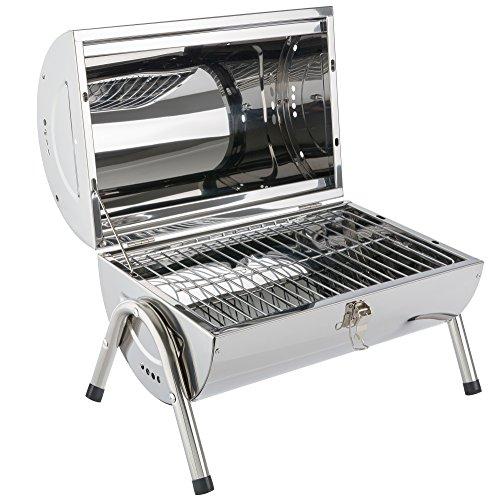 Arebos Holzkohle Grill/robustes Edelstahlgehäuse/Kompakt und handlich
