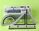 Daimay Kit de géométrie mathématique - Boîte incassable, Règle droite, Rapporteur, Règles du triangle - Jeu d'outils de traçage et de marquage mathématique pour les étudiants - 5 pièces
