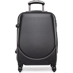 Kono Maleta pequeña de tamaño cabina con 4ruedas, exterior rígido de plástico ABS, ligera, aprox. 50 cm multicolor negro small