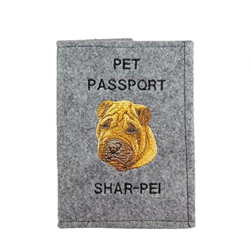 Shar-Pei, Passport Brieftasche mit gesticktem Muster eines Hundes (Brieftasche Gestickte)