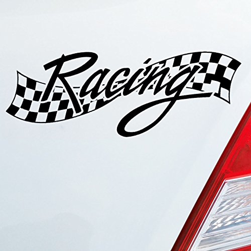 Auto Aufkleber in deiner Wunschfarbe Racing Flag Rennen Ziel Flagge Tuning Fun DUB OEM JDM 15x5 cm Autoaufkleber Sticker (Aufkleber Auto Racing)