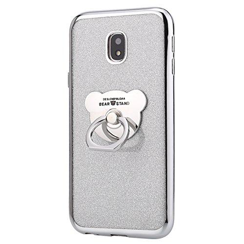 Kompatibel mit Samsung Galaxy J3 2017 Handyhülle, Herbests Crystal Clear Durchsichtige Handy Schutzhülle Weiche Silikon Transparent Glitzer Handy Hülle mit Ring 360 Grad Ständer,Silber
