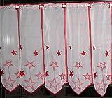 Scheibengardine nach Maß edel bestickt mit Sternen in rot - Höhe 30 cm - Breite der Gardine durch Stückzahl in 32 cm Schritten wählbar - Weihnachtsgardine Stern Bistro mit Spitze Fensterbild Weihnachten Sterne Typ302