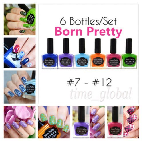 Generic 6pcs/Set Born Pretty Nail Art Stamping Polish Nail Stamp Varnish 15ml #7-#12