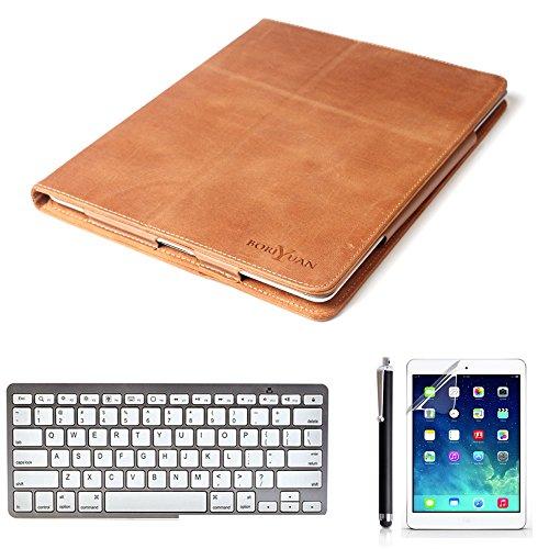 Preisvergleich Produktbild boriyuan Apple Ipad Air 2 (iPad 6 6th Generation) Echt Leder Case Tasche Smart Cover mit bluetooth Tastatur Keyboard (Deutsch Layout) + Stylus + Displayschutzfolie+Tuch,  Farbe: Braun