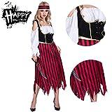RISILAYS Halloween Lady Dress, Costume De Mode Pirate, Costumes De Scène De Mascarade Costume Performance Carnaval Pâques Cosplay Costume Street (Jupe + Bande De Cheveux),Red...