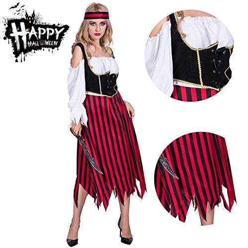 RISILAYS Halloween Lady Kleid, Mode Piratenkostüm, Maskerade Bühne Requisiten Leistung Kostüm Karneval Ostern Cosplay Kostüm Straße (Rock + ()