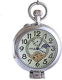 Ogle Waterproof Moon Phase Tourbillon Magnifier Silver Chain Fob Self Winding Automatic Skeleton Half Hunter Mechanical Pocket Watch