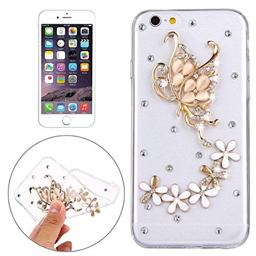 Wkae Case Cover Für iPhone 6 &6s Diamant verkrustete Glas-Katze-Perlen-Bell-Muster-weiche TPU-Schutzhülle Cover-Rückseite ( SKU : IP6G5600B ) IP6G5600N