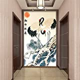 Tantoto Papel pintado 3D Grandes Murales Pinturas Murales Pasajes De Pórtico Fondo De Pantalla Papel Tapiz Pino Chino Grúas Pintura Tradicional China