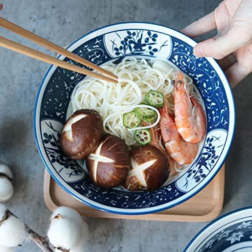 YCL Cuencos Cuenco de Sopa Ramen Bowl Azul y Blanco Simple Pintado a Mano del hogar Desayuno de Gran Capacidad Plato de Ensalada de Frutas y Verduras