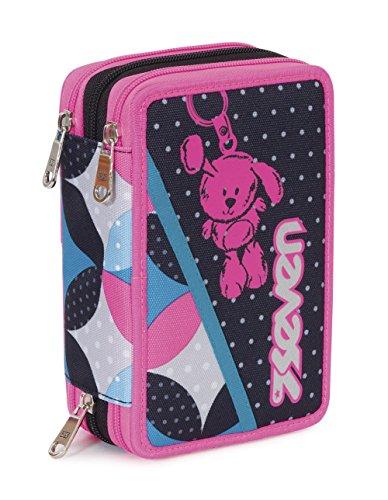 Estuche Escolar 3 Pisos – Seven – Bunny – Multi Compartimentos con lápiz, rotuladores, boligrafos… Rosa Negro