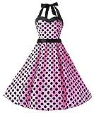 Dresstells Neckholder Rockabilly 1950er Polka Dots Punkte Vintage Retro Cocktailkleid Petticoat Faltenrock Pink Black Dot L