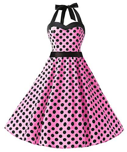 Dresstells Neckholder Rockabilly 50er Polka Dots Punkte Kleid Petticoat Faltenrock Pink Black Dot XS