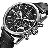 BENYAR Quarz Chronograph Wasserdicht Uhren Business und Sport Design Leder Band Strap Armbanduhr für Männer (Silber schwarz)