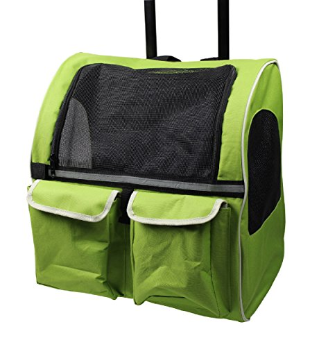 Meiying Rolle Um in Behälter Travel Rucksack für Hunde und Katzen Tote Fluggesellschaften Zugelassen, Pets up to 17 pounds, Grün