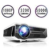 3200 Lumens LCD Beamer, unterstützt 1080P Full HD, HDMI x 2, VGA, USB x 2, VGA, AV und Kopfhörer Schnittstelle, inkl HDMI und AV Kabel, Multimedien Heimkino Entertainment (Black)