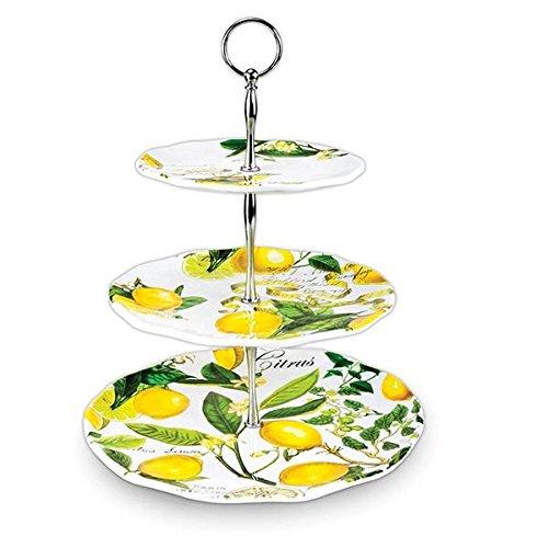 Michel Design Works 3-Tier-verstellbar Buffet oder Dessert Ständer, Melamin, Zitrone Basilikum -