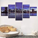 WZYWLH 5 Stücke Wandkunst Bilder Brooklyn Bridge City Nachtsicht Malerei Modulare Leinwand Rahmen HD Drucke Poster Wohnzimmer Wohnkultur