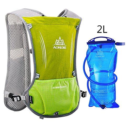 Imagen de aonijie upgrade hidratación ciclismo chaleco reflectante marathoner pack  con vejiga 2l agua deporte al aire libre carrera, verde