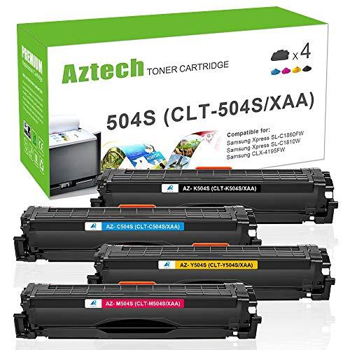 Aztech 4 pack compatibili per Samsung CLT-P504C CLT-K504S ELS CLT P504C K504S C504S M504S Y504S Toner per Samsung Xpress SL-C1810W SL-C1860FW CLX-4195FN CLX-4195FW CLP-415N CLP-415NW Toner