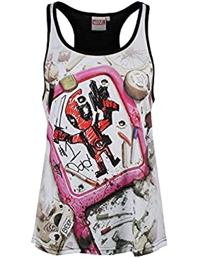 Deadpool Drawing Top Mujer multicolor