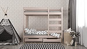 Wanda kids bunk bed with drawers front enter - solid wood