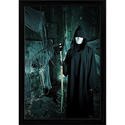 (ArtzFolio Halloween Horror 4 Canvas Painting Black Frame 8 x 11.3inch)