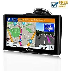 GPS Coches,NAVRUF 7 Pulgadas Navegador GPS para Coche con Actualizaciones de Mapas para Toda la Vida