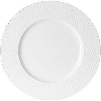 TABLE PASSION - ASSIETTE PLATE 27 CM LOUNA RELIEF BLANC (Lot de 6)