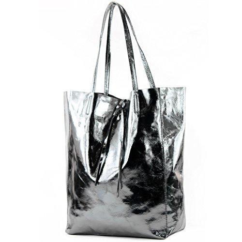 modamoda de - Ital. Shopper Schultertasche aus Leder T163, Präzise Farbe:Anthrazit-Metallic