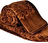 SRS Floral Bed Blanket- Double, Brown wi...