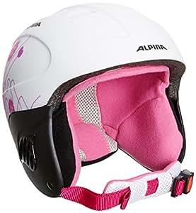 Alpina Carat L.E. Casque de ski pour fille Blanc White/Pink/Matt Size 48-52