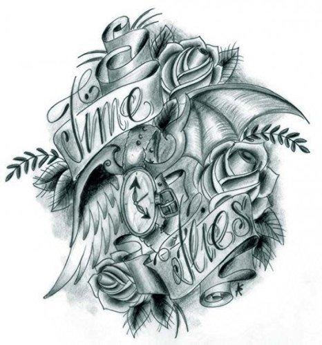 Tattoo Grashine Halloween pour les adultes noirs et de fleurs blanches et de rubans réalistes et des tatouages temporaires faux