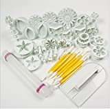 yiran® Fondant Sugarcraft Kuchen dekorieren Ausstechformen Zuckerguss Modellier Werkzeug-Set mit Nudelholz, glattere, Formstanzer Form Tools 14Sets (46pcs)