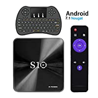 R-TV S10 Android 7.1 TV Box with Mini Wireless Keyboard,2017 4K Now TV Box DDR4 3GB RAM 32GB ROM and Bluetooth 4.1 with Octa Core CPU 64 Bits Amlogic912 Smart TV Box Support 2.4G/5G WIFI 1000M LAN