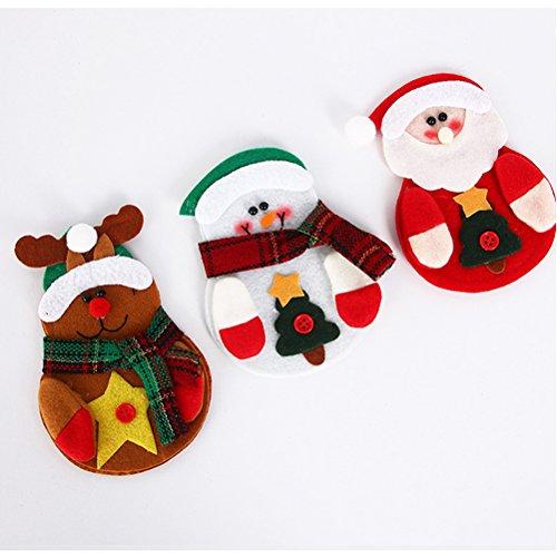 OULII 6 Pcs Weihnachten Besteckhalter Besteck Taschen Besteckbeutel Weihnachtsmann Rentier Schneemann Weihnachten Party Tischdeko