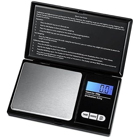 AMIR Balance de Poche de Precision, 200g/0.01g, Balances de Bijoux, Precision, A Ecran LCD Tactile, Fonction de Tarage, Acier Inoxydable (Noir)