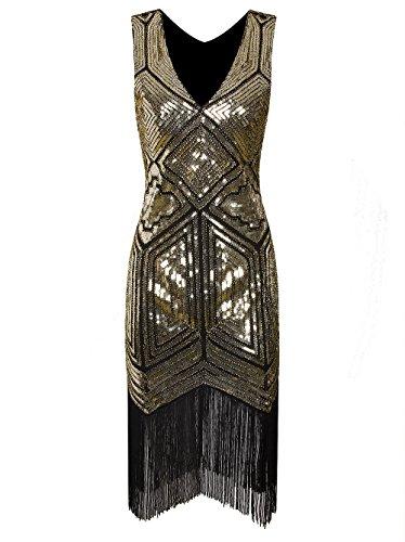 Kleid Gatsby Girl (Vikoros Damen Cocktail Kleid, Paisley Gr. 46,)