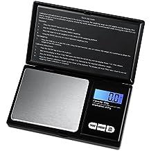 AMIR Balance de Poche de Precision, 200g/0.01g, Balances de Bijoux, Precision, A Ecran LCD Tactile, Fonction de Tarage, Acier inoxydable(noir)
