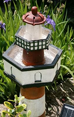 Small Solar Powered Water Feature Belle Tout Lighthouse Two Tier Waterfall PC122