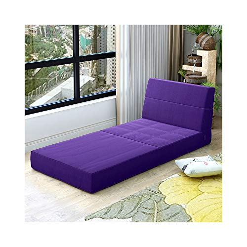 WHS Stoff Sofa Lazy Schlafsofa Klappsofa Schlafzimmer Erker Komfortable Tatami Abnehmbar und Waschbar Dicke 150 × 70 × 15 cm (Color : Violet) - Stoff-schlafsofa