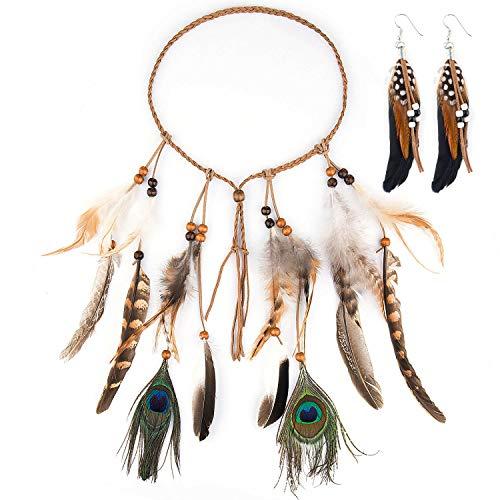 Diadema India Plumas, Czemo Boho Hippie Beads Headwear Headband Indio