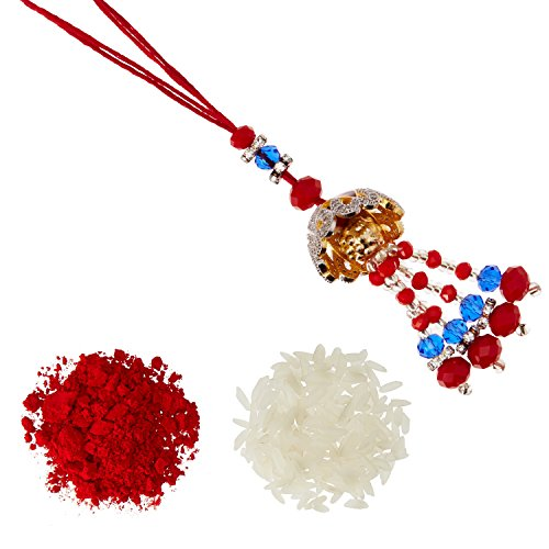 9046f413d Aheli AD Jumkha with Red & Blue Mina Work Lumba Rakhi with Roli Chawal  Tilak for Women (Silver) (RL24212)