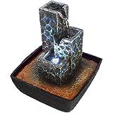 Agora-Tec® Kaskade - Fuente con forma de cascada y piedras e iluminación led, muy agradable, ultrasilenciosa, 21cm de alto